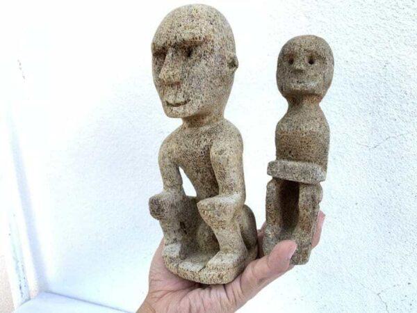 SEA DAYAK FIGURE (1 Pair) CORAL STATUE Hampatong Figurine Asia Sculpture Borneo