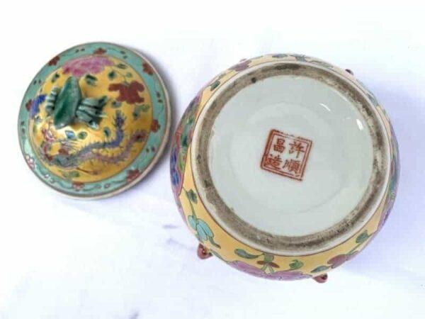 CERAMIC COVERED JAR 130mm KAMCHENG Peranakan Baba Nyonya Chinese Porcelain Asia Asian Art