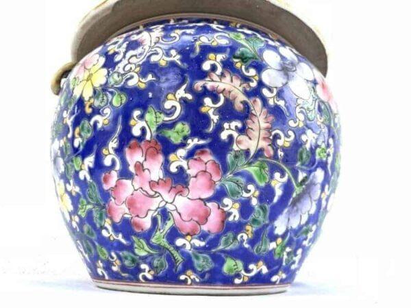 DENSE FLORA 8.3″ BLUE KAMCHENG Peranakan Nyonya Chinese Ceramic Covered Jar Container Asian Art Culture