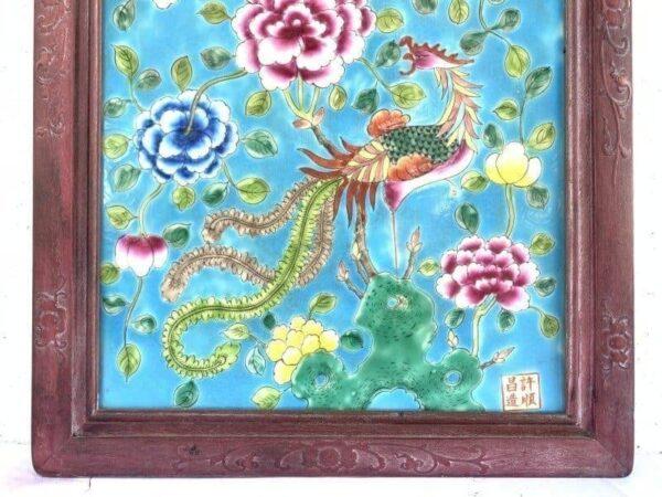 CERAMIC PAINTING 610mm PERANAKAN NYONYA Phoenix Peony Drawing Chinese Asia Asian Art