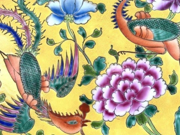 XXXL LARGE (500mm x 870mm) CERAMIC PAINTING Phoenix Chinese Asia Asian Art Culture