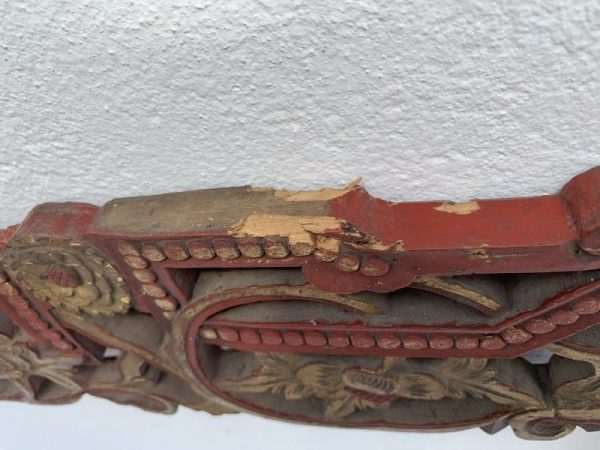 #2 LARGE ANTIQUE CHINESE (630 x 1120 mm) BED PANEL Red And Gilt Wood Asia Art Culture