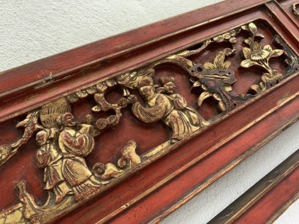 #5 FAMILLE ROSE PANEL (Large 1880mm) CHINESE WOOD CARVING Bed Peranakan Bridal Asia Culture Antique