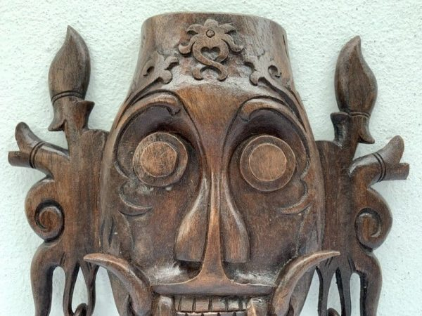 KENYAH MASK 280mm Soul Catching Dayak Borneo Artwork Wall Hanging Deco Tribal Asia Asian Art