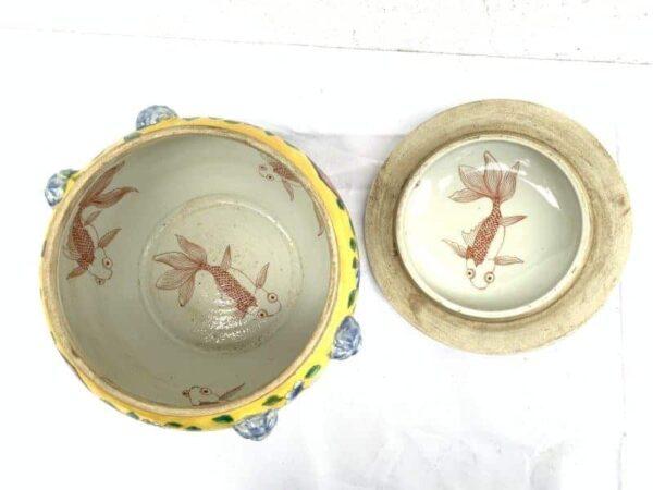 CERAMIC CONTAINER 8.3 lb NYONYA KAMCHENG Peranakan Porcelain Jar Bowl Box Chinese Asia