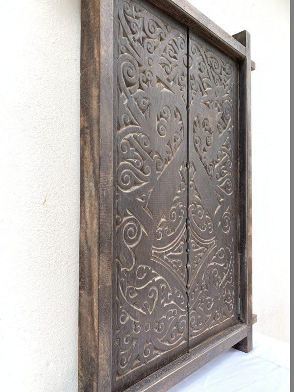 NATIVE HOME (980 x 655 mm) TRIBAL WINDOW Panel Home Deco Wood Carving Borneo Asia